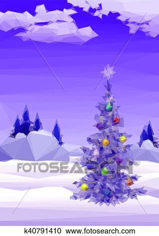 Paysage à Arbre Noël Clipart