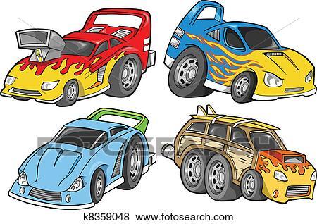 clip art of street car racer vector design set k8359048 search