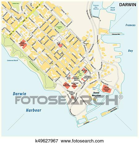 Darwin Map Of Australia.Street Map Of The City Of Darwin Northern Territory Australia Clip Art