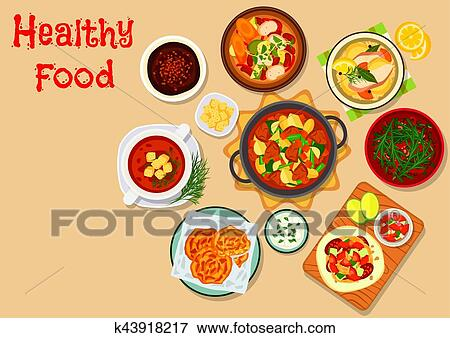 Clip Art Of Tasty Lunch Dishes Icon For Food Theme Design K43918217