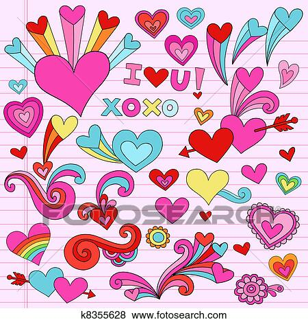 Valentine Love Heart Doodles Vector Clip Art K8355628 Fotosearch