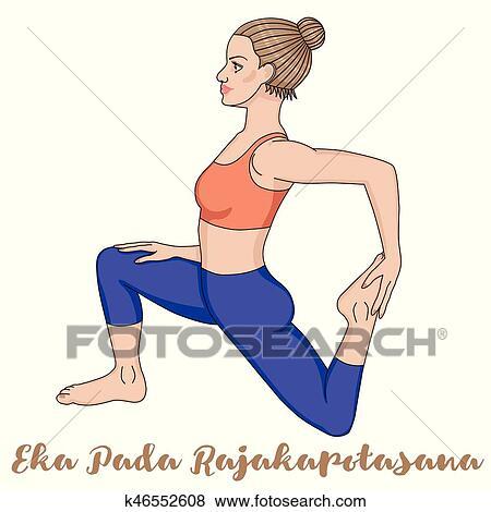 women silhouette onelegged king pigeon yoga pose eka