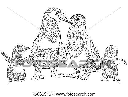 Zentangle Stilisiert Pinguine Familie Clip Art K50659157