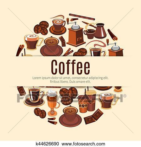 コーヒー 飲み物 ラウンド ポスター ために カフェ デザイン