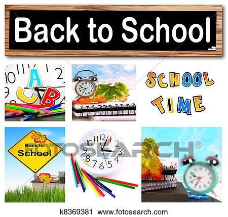 Clipart Of Back To School Collage K8369381 Search Clip Art