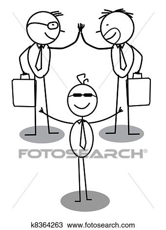 Clipart Of Business Agreement Intermediary K8364263 Search Clip