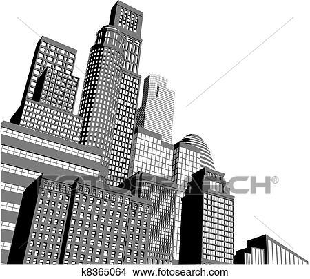 clipart of monochrome city skyscrapers k8365064 search clip art rh fotosearch com Skyscraper Graph Skyscraper Coloring Pages