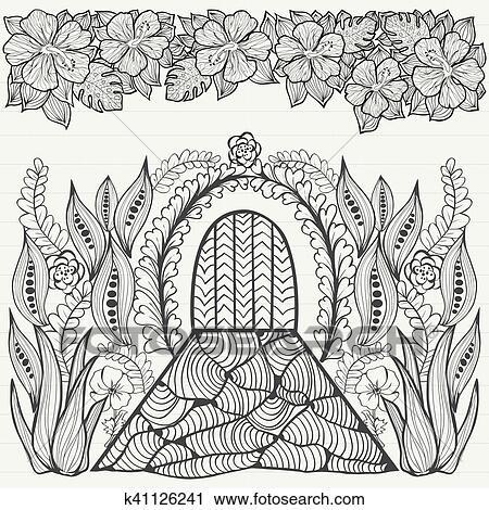 Clipart - negro y blanco, extracto, fantasía, picture., flores, hoja ...