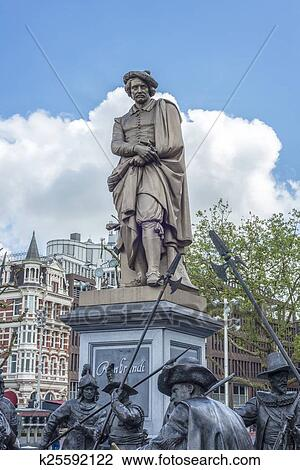 Rembrandt statue in Amsterdam, Netherlands Stock Image