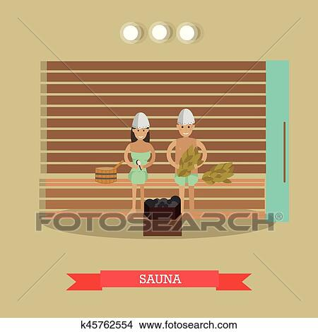 clipart of spa procedure sauna concept vector illustration in flat