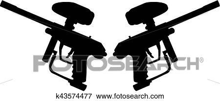 Two Paintball Guns Clip Art K43574477 Fotosearch