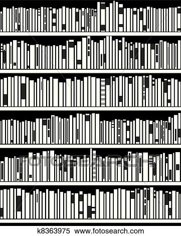 Clipart Of Vector Abstract Black And White Bookshelf K8363975