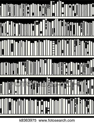 Bücherregal clipart schwarz weiß  Clipart - vektor, abstrakt, schwarz weiß, bücherregal k8363975 ...