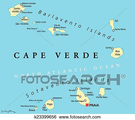 Clip Art of Cape Verde Political Map k23399656 - Search Clipart ...