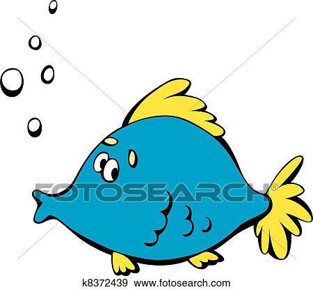 Cartone animato pesce blu clip art k8372439 for Sfondo animato pesci