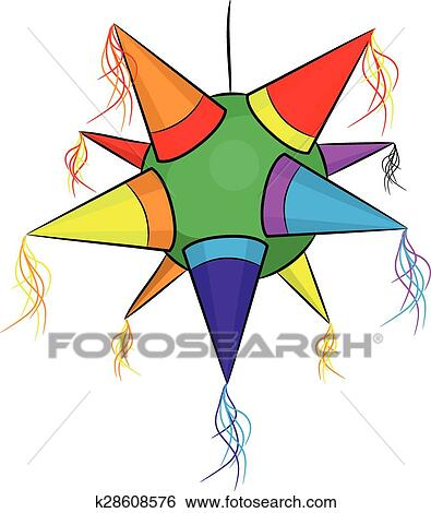 Clip Art of color mexican pinata, shape star for parties ...Star Pinata Clipart