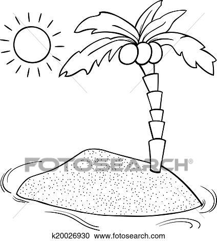 Clipart - einsame insel, karikatur, färbung, seite k20026930 - Suche ...