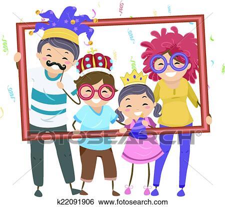 Clip Art Of Family Party Frame K22091906