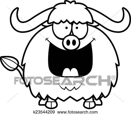 Clip Art Of Happy Cartoon Yak K23544209