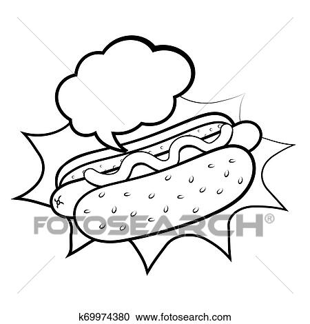 Hot Dog Icon Black And White Clipart K69974380 Fotosearch