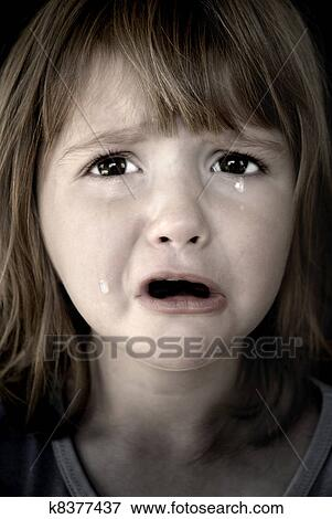 Picture - Little Girl Crying with Tears. Fotosearch - Search Stock Photography, Photos,