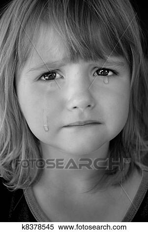 Stock Image - Little Girl Crying with Tears. Fotosearch - Search Stock Photos, Mural