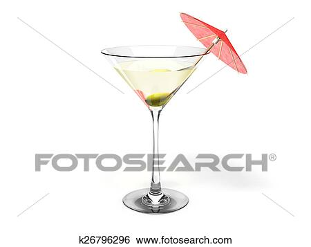 Stock Illustration Of Martini Glass With Green Olive And K26796296