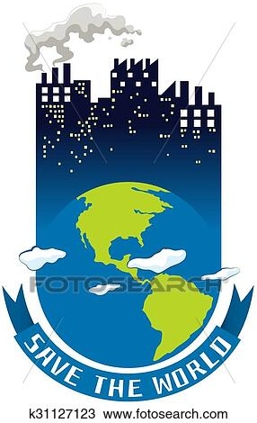 Lovely Clipart   Save The World Theme With Earth And Buildings. Fotosearch    Search Clip Art