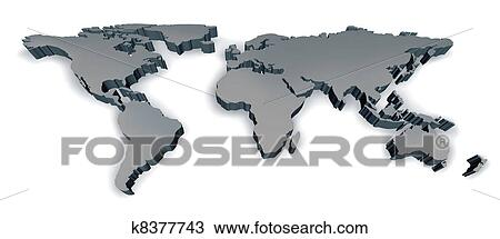 Stock Photo Of Three Dimensional World Map K Search Stock - Grey world map poster
