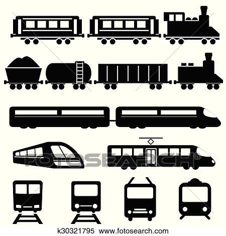 clipart trem e estrada ferro transporte ícones k30321795