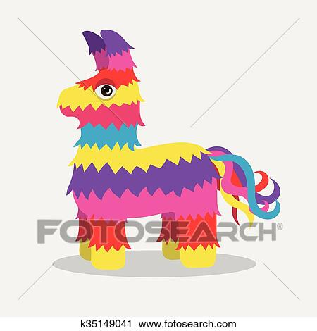 clipart of vector bright striped colorful pinata k35149041 search rh fotosearch com pinata clipart free mexican pinata clipart