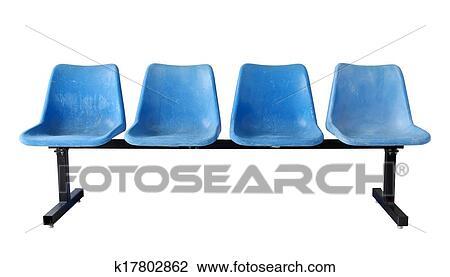 Blau Plastik Stuhle Freigestellt Weiss Mit Ausschnitt Weg Stock