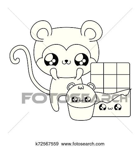 Cute Macaco Bebe Jogo Alimento Kawaii Estilo Clipart