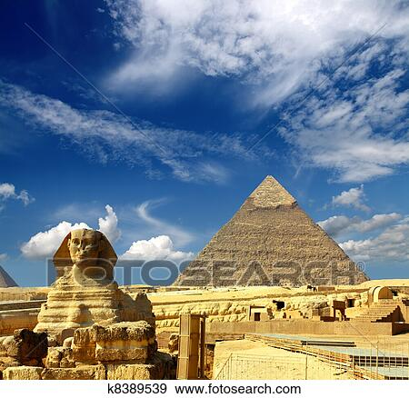 stock photograph of egypt cheops pyramid and sphinx k8389539