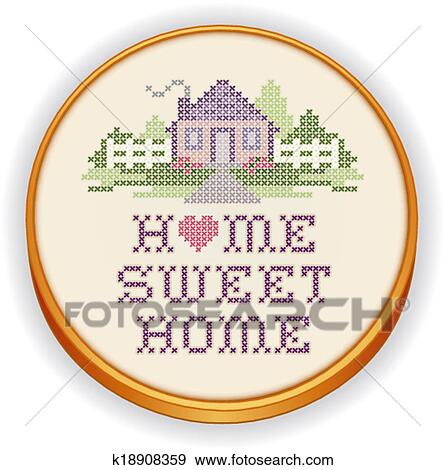 Clip Art Of Embroidery Home Sweet Home K18908359 Search Clipart