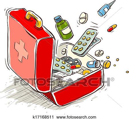 clipart erste hilfe kasten mit medizinische drogen und tabletten k17168511 suche clip. Black Bedroom Furniture Sets. Home Design Ideas