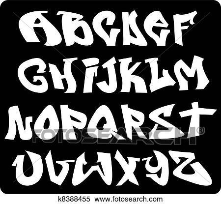 Clipart graffiti police alphabet abc lettres k8388455 recherchez des clip arts des - Lettre graffiti modele ...