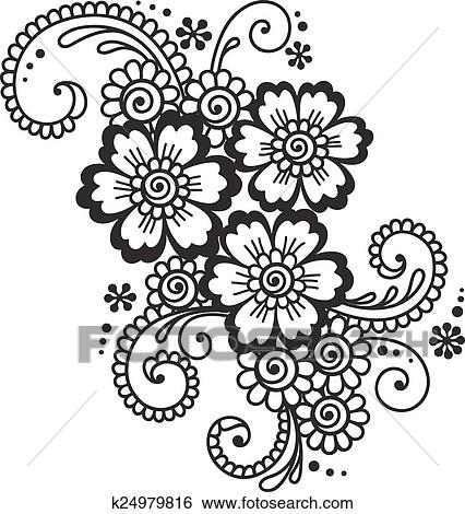 Clip Art Of Hand Drawn Abstract Henna Mehndi Flower Ornament