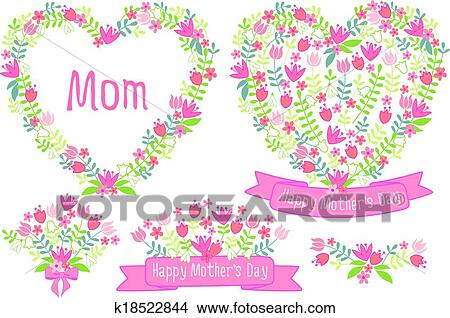 clipart of happy mothers day floral hearts k18522844 search clip