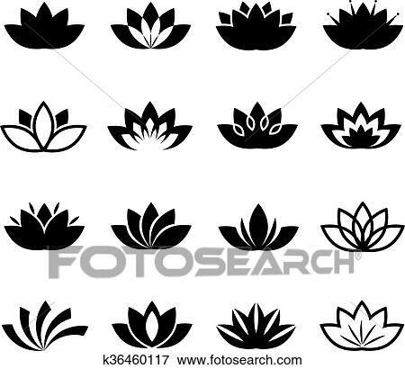 Clip Art Of Lotus Flower Vector Icons Set K36460117 Search Clipart