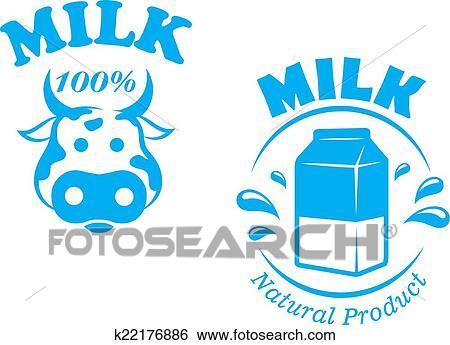 Clip Art Of Milk Emblem Or Symbol K22176886 Search Clipart