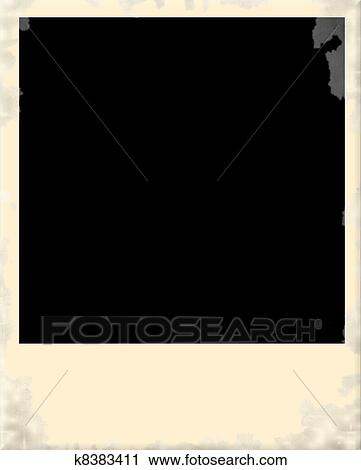 Clipart Of Old Dirty Polaroid Photo Frame K8383411