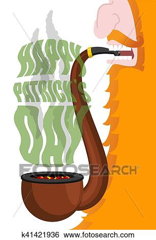 Clipart Patricks Day Lutin Fumées Pipe Rouges Beard