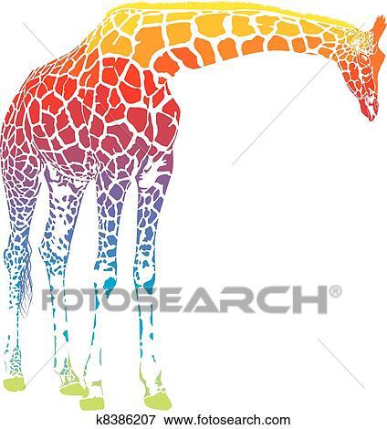 Clip Art Of Rainbow Giraffe Vector K8386207