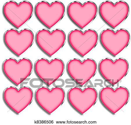 Stock Illustration - rosa, &, chrom, herzen, schablone k8386506 ...