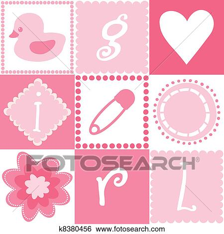 Clip art of seamless baby girl background k8380456 search clipart clip art seamless baby girl background fotosearch search clipart illustration posters voltagebd Choice Image