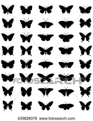 Clip Art Silhouette Di Farfalle K33828378 Cerca Clipart
