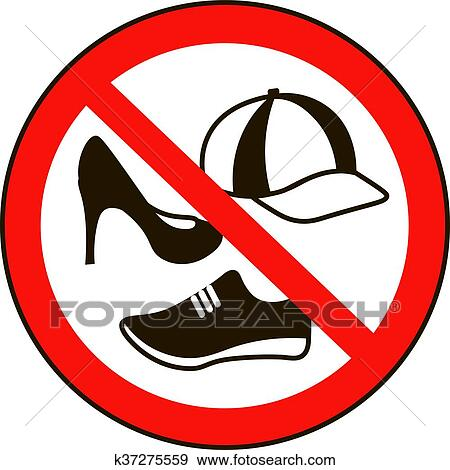 Clip Art Of Take Off Cap And Shoes Signs No Sign Warning Prohibited Public Information Icon Not Allowed Shoe Symbol