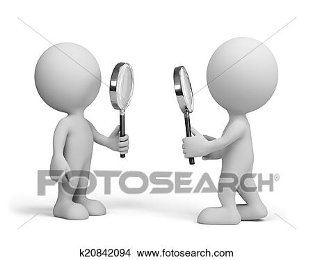 drawings of two people with a magnifying glass k20842094 search