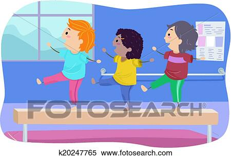 Clipart Of Balance Beam Kids K20247765